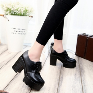 Image 3 - 2019 new thick with high heels thick sole shoes British womens shoes autumn laces students round head ladies casual women shoes