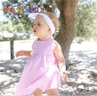 2018 Fashion Newborn Kids Baby Girls Toddler Infant O neck Sleeve Cute Red Plaids Dress Clothes 0 24 M Bebe Hot Dresses Clothing