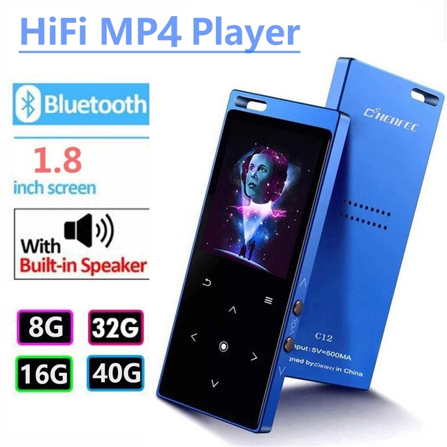 Bluetooth4.2 MP4 Player with Speaker 1.8 inch Screen Touch Button MP4 Video Player Support FM, Recorder, SD Card Up to 128GB