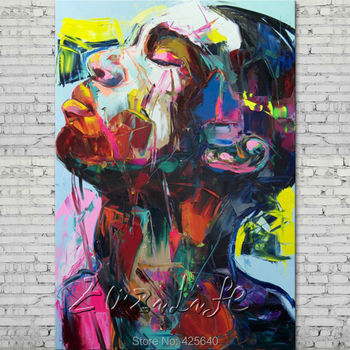 Palette knife painting portrait Palette knife Face Oil painting Impasto figure on canvas Hand painted Francoise Nielly 15-15