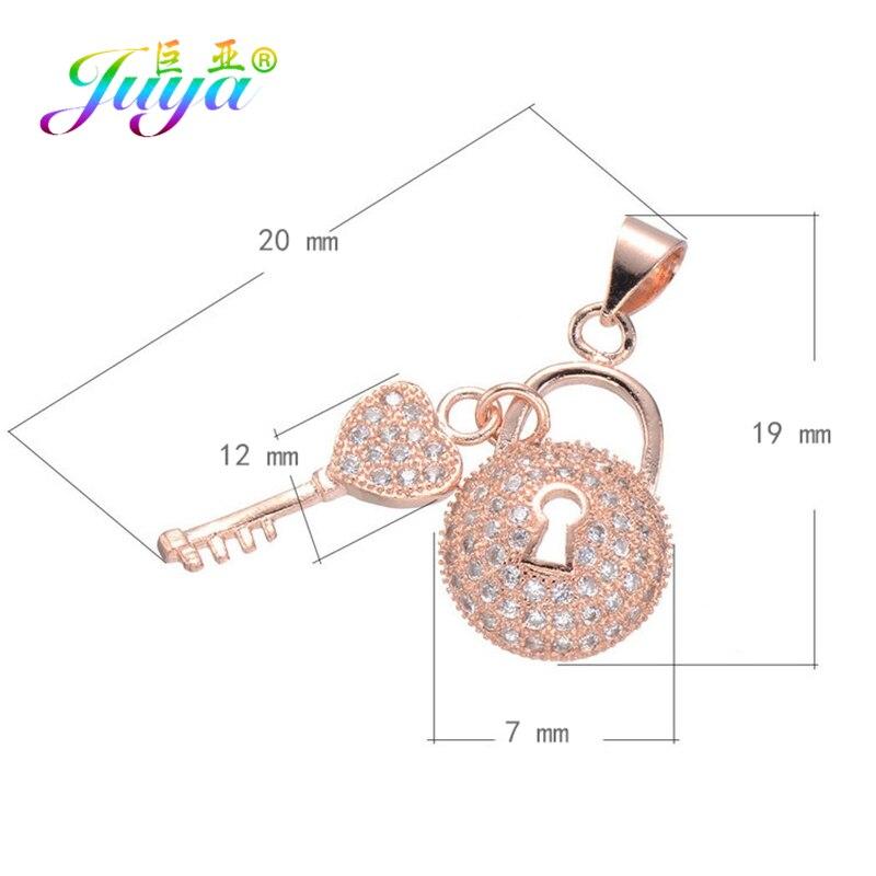 Juya DIY Ювелирные компоненты золото/серебро/розовое золото медальон сердце ключ Подвески и кулоны, аксессуары для женщин модные ювелирные изделия - Окраска металла: Rose Gold