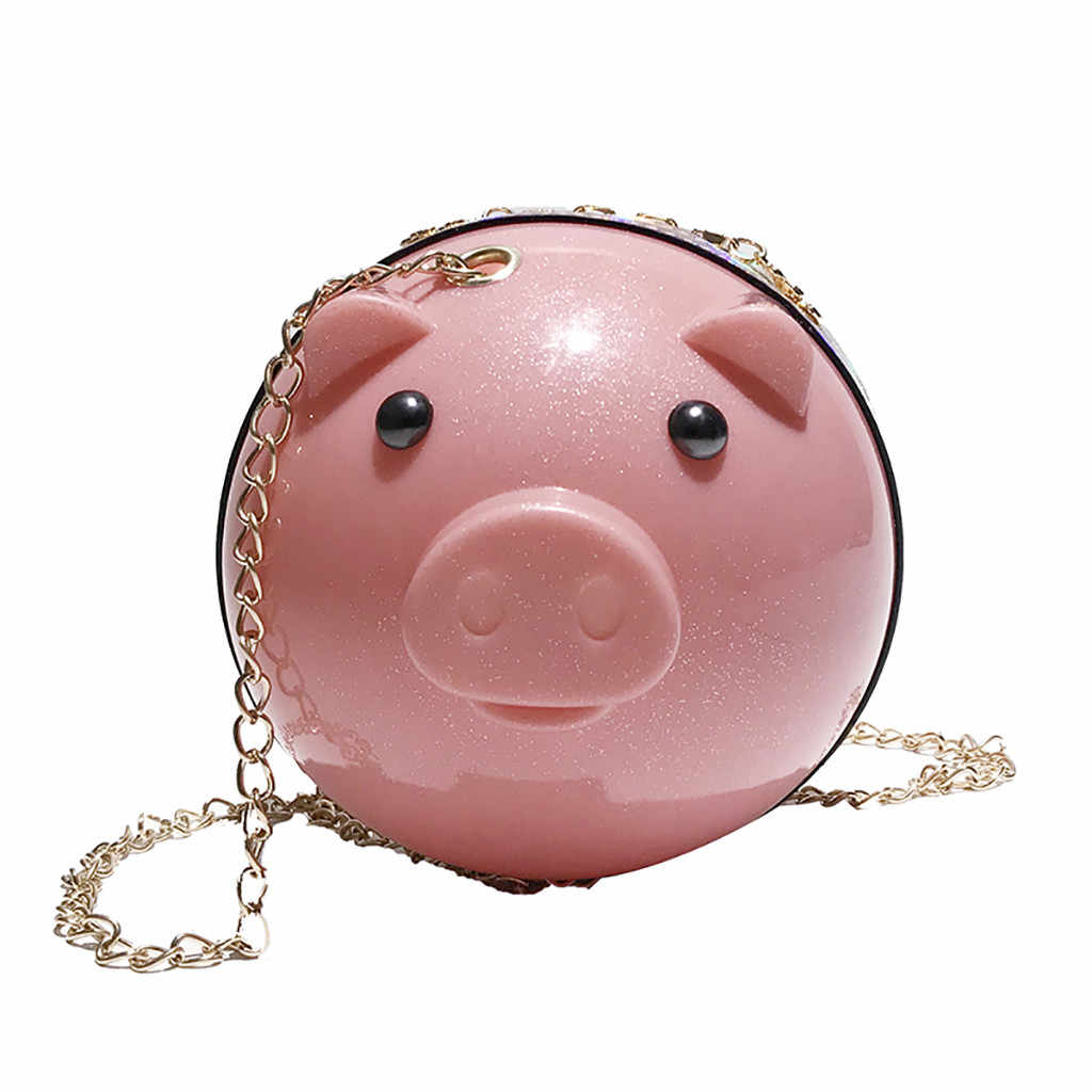 2019 Ano do Porco Senhoras Porco Engraçado Padrão Crossbody Saco Selvagem Bonitinho Rodada Bonito Saco Versátil Bolsa de Ombro Bolsa Das Mulheres feminina