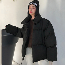 Korean Style Stand Collar Winter Jacket Women Breasted Buttons Winter coat for women Short Black Puffer jacket Parka Female