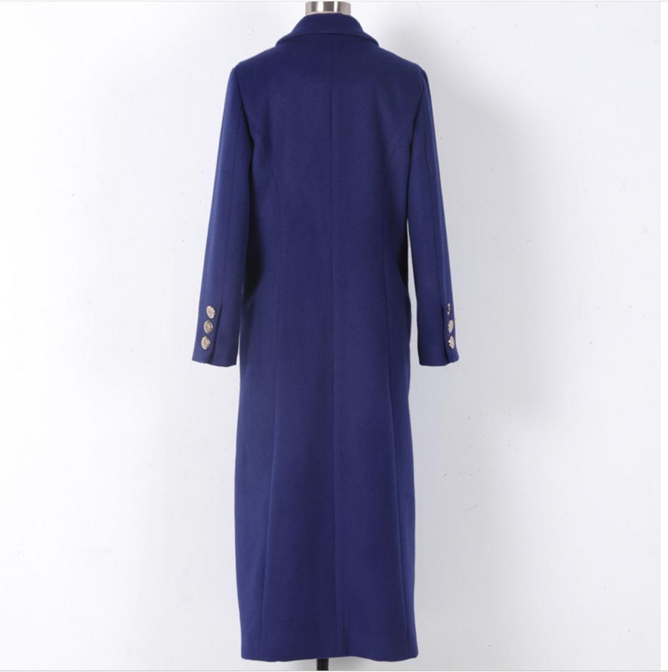 À Manteau Mélanges Femmes Mode Longues Double Manches Hiver Office Mince Veste Blue Longue Section Breasted De 2018 Lady Laine nZqaFWIW