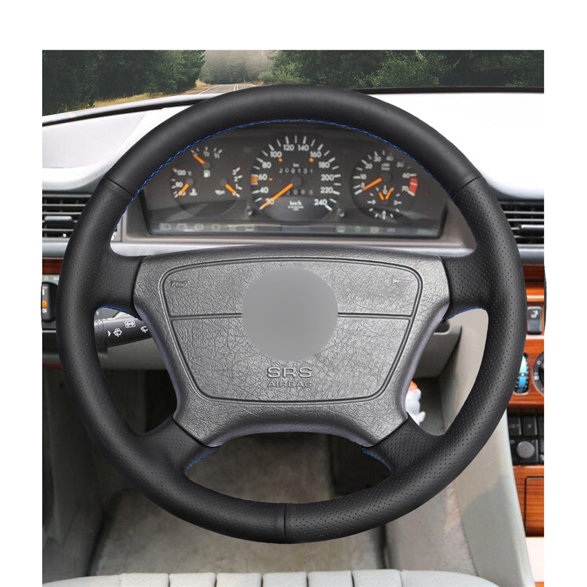 Image 2 - Hand stitched Black PU Artificial Leather Car Steering Wheel Cover for Mercedes Benz E Class W210 E 200 240 280 320 1995 2002-in Steering Covers from Automobiles & Motorcycles