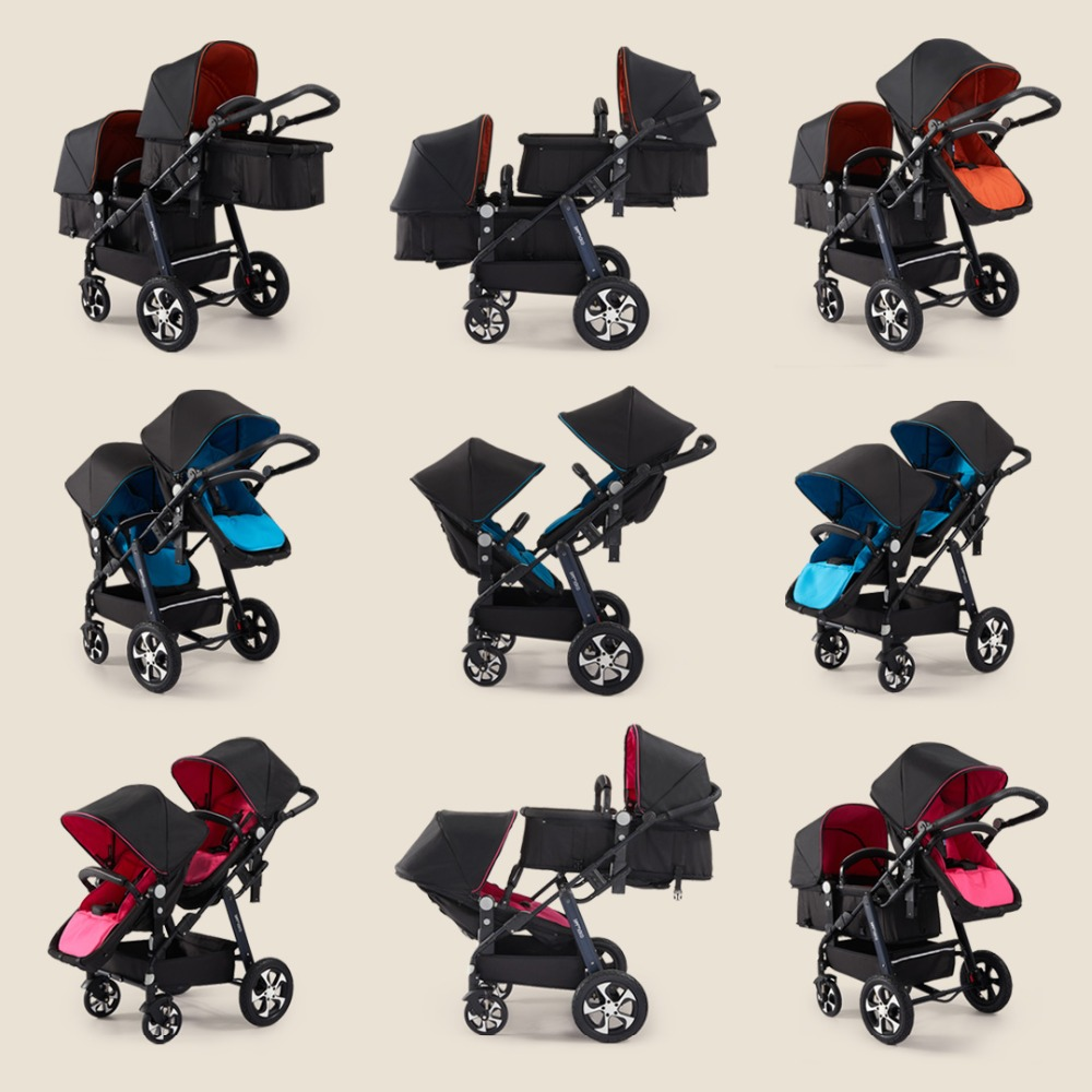 Aliexpress Direct !2019  luxury double stroller can sit high landscape folding umbrella four wheel double stroller quality cart Lahore