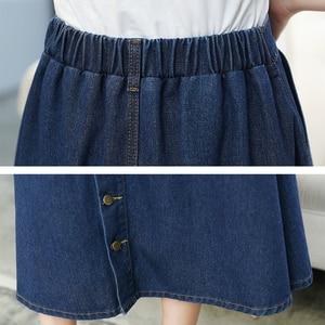Image 5 - Женская джинсовая юбка, однотонная длинная юбка в Корейском стиле с высокой талией и широким подолом, Повседневная Джинсовая юбка на пуговицах, B82806A, 2018
