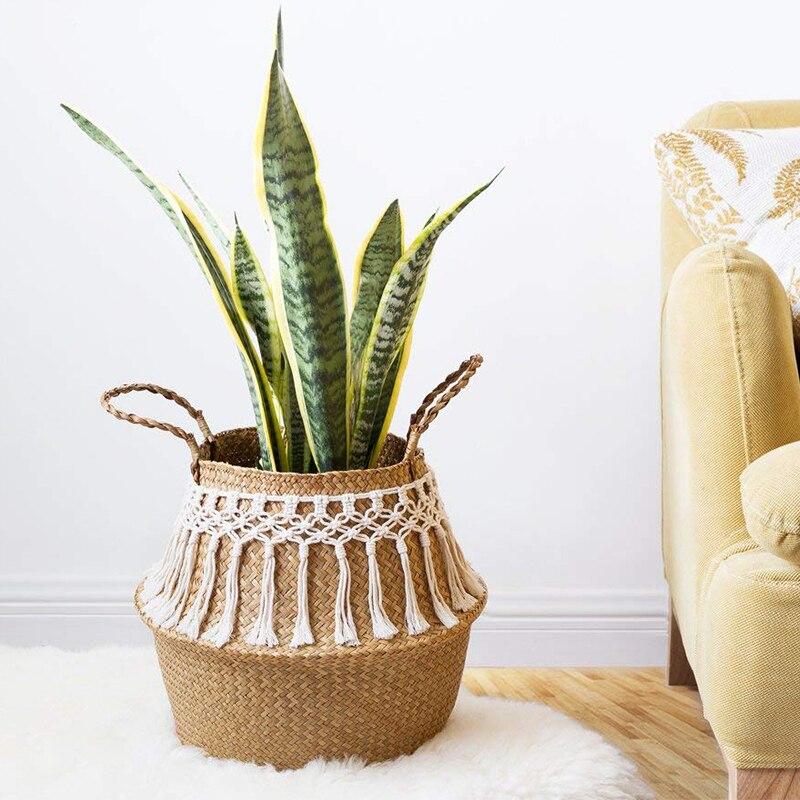32 x 30 large Wicker basket foldable Decorative Baskets Garden Flower Pot Rattan Basket Home Organization