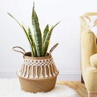 32 x 30 large Wicker basket foldable Decorative Baskets Garden Flower Pot Rattan Basket Home Organization laundry basket