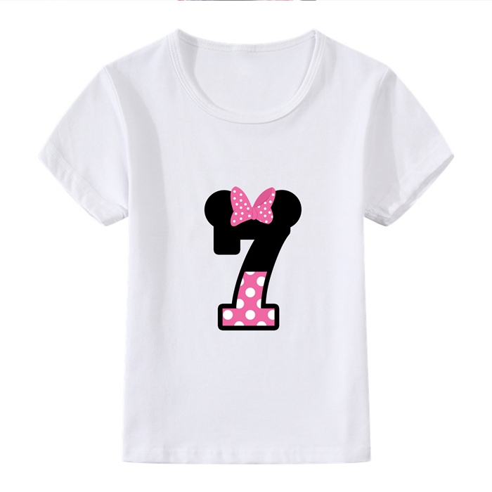 Interesting Birthday Present Number Bowknot Cute Cartoon Modal Kidswear Boy girl Summer T shirt Short Sleeve White Kid Clothes in Matching Family Outfits from Mother Kids