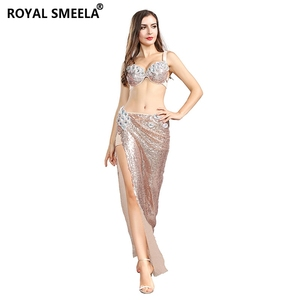 Image 4 - 2020 Womens Belly dance Bra Skirts Professional Outfit 2pcs Sequin Bling Mermaid Dance Costume Set belly dance costume 119060
