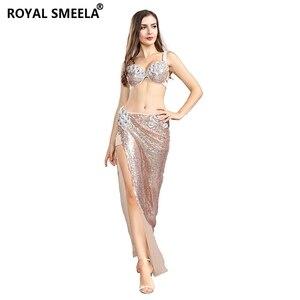 Image 4 - Sujetador de danza del vientre para mujer, faldas, uniforme profesional, 2 uds., sirena ostentosa de lentejuelas, conjunto de disfraz de danza del vientre, 2020