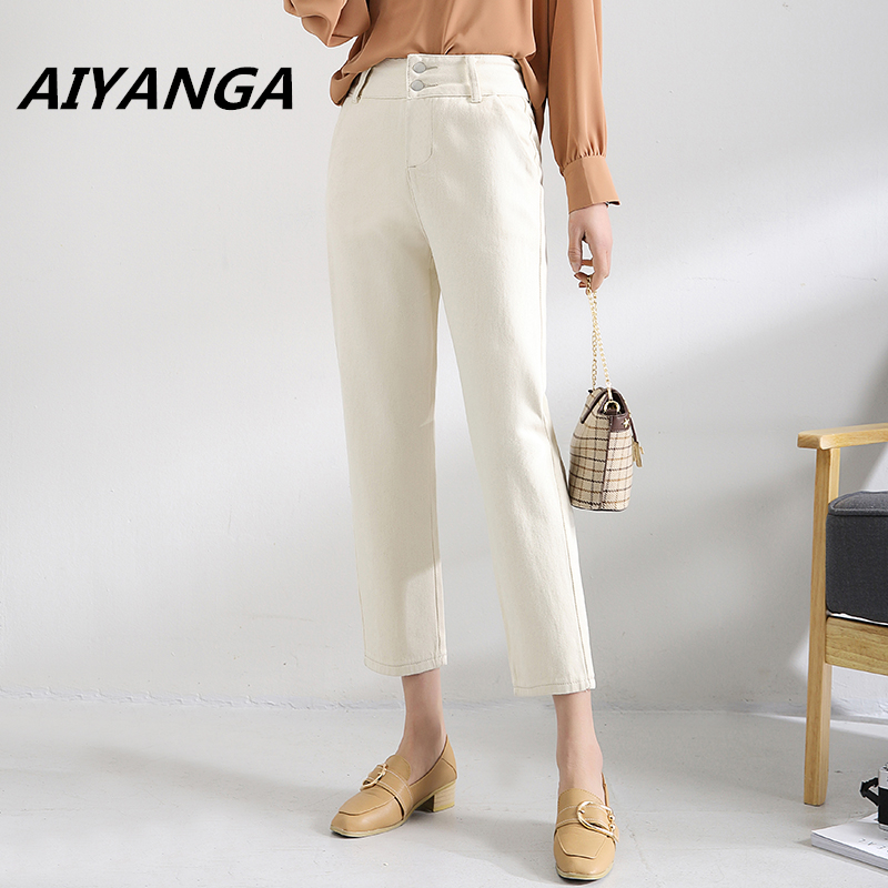 New Women Casual Spring Summer High Waist Trousers 2018 Beige Ankle Length Office Lady Single-breasted   Wide     Leg     Pants   Women