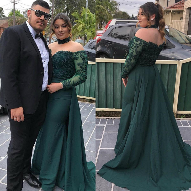 Emerald Green Mermaid Evening Dresses Plus Size 2019 Abendkleider Lang Long Sleeve Prom Gowns Formal Women Occasion Dress