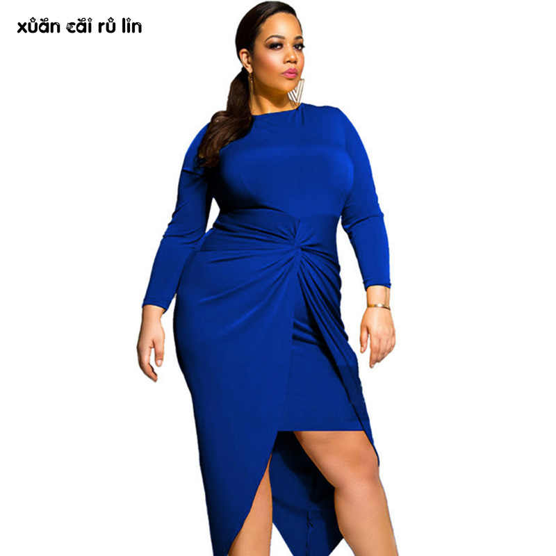 2017 plus size long sleeve autumn winter Peplum dress elegant blue Mid Calf  Robe Female clothing a65452b9ba06