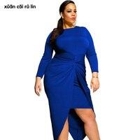 2017 plus size z długim rękawem jesień zima Peplum sukienka elegancki niebieskie Połowie Łydki Szata Kobiet odzież cocktail party Tunika tłuszczu sukienka