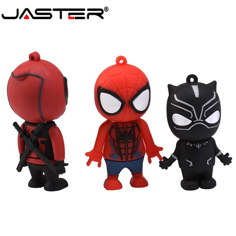 JASTER USB 2.0 New Hot Fashion Spiderman Black Panther Deadpool Real Capacity USB Flash Drive 4GB / 8GB / 16GB / 32GB / 64GB