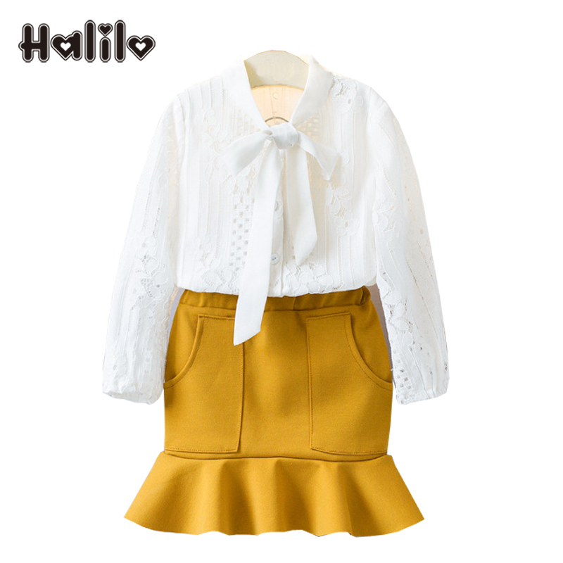 Halilo Girl Long Sleeve Set White Blouse Skirt 2pcs Toddler Clothing Halloween Outfits For Kids Girls Boutique Clothing Sets