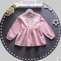 2016 spring and autumn new long-sleeved dress baby girl dress princess dress 100% cotton lace Free shipping children brand