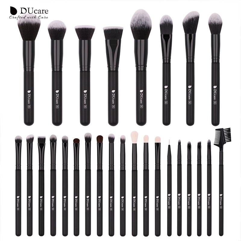 DUcare 27PCS Makeup Brushes Foundation Eyeshadow Powder Brush Professional Brush Set Goat Hair Cosmetic Tool Kit Make Up Brushes morphe black and white brush set
