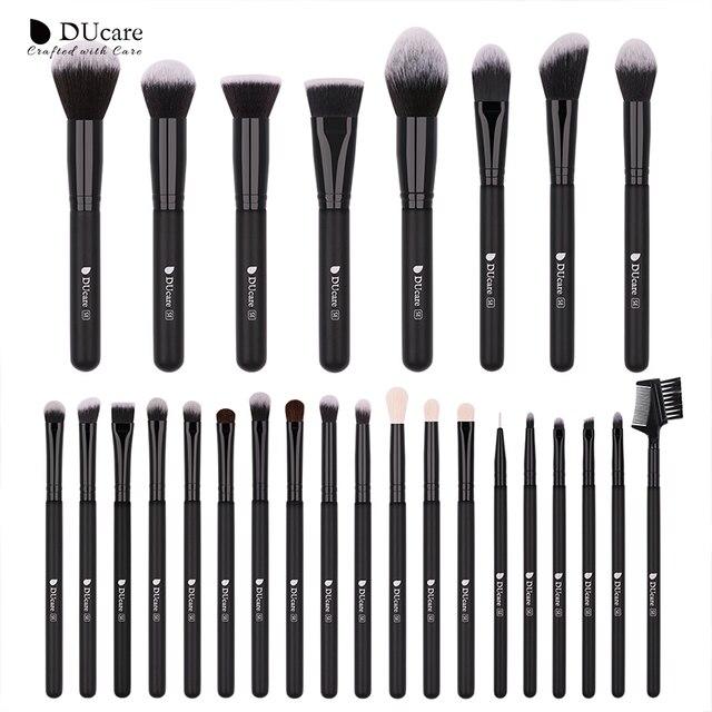 DUcare 27 piezas maquillaje cepillos conjunto Fundación polvo sombra de ojos cepillo de pelo de cabra herramienta cosmética Kit de pinceles de maquillaje