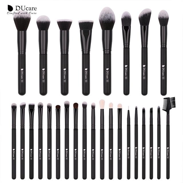 DUcare 27 piezas maquillaje pinceles/brochas Fundación polvo sombra de ojos cepillo de pelo de cabra herramienta cosmética Kit de pinceles de maquillaje
