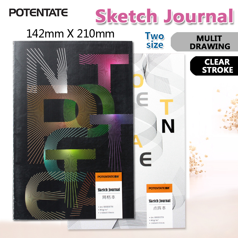 POTENTATE 80gsm A5 24 Sheets Sketch Book Notebook Notepad Sketchbook for Painting Drawing Diary Journal Creative Gift
