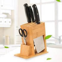 New Multifunctional Kitchen Accessories Bamboo Knife Holder Ventilated Dry Knife Rest Health Creative Wood Knife Block