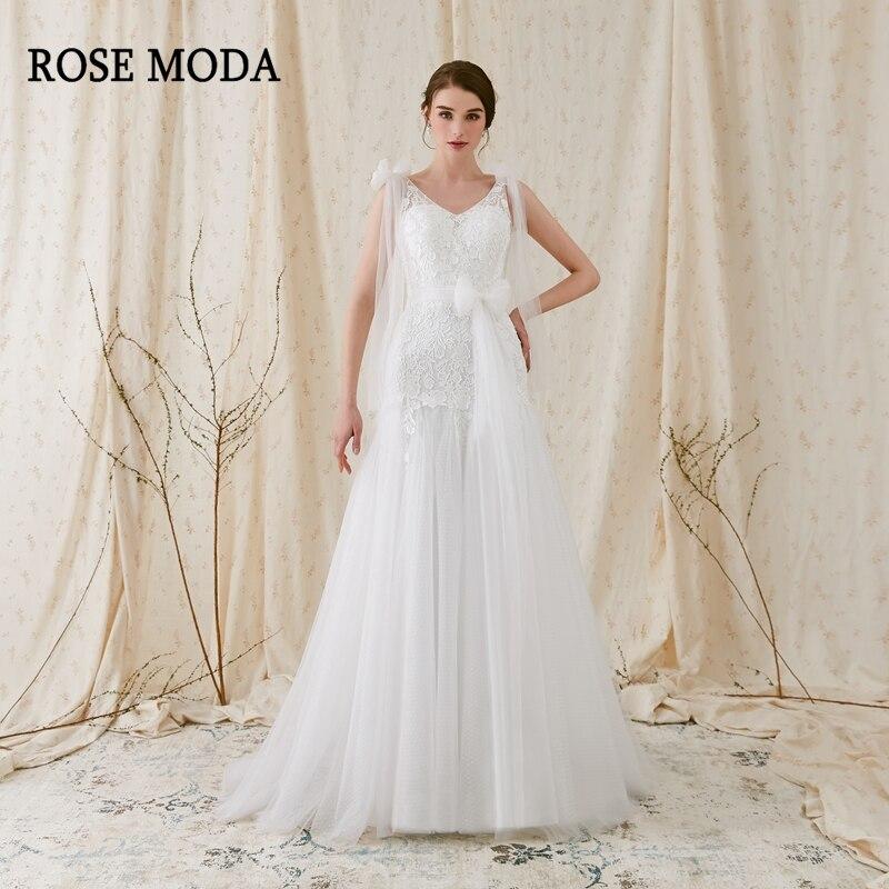Rose Moda V Neck Wedding Dress Backless Beach Wedding