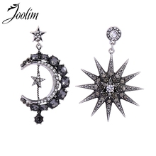 Joolim Jewelry Wholesale/Smoky Dark Gray Cubic Zirconia Moon Star Drop Earring Luxury Earrings for Women 2019