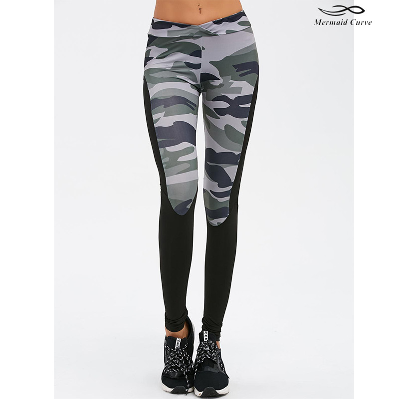 dce6989aef Mermaid Curve new style women skinny fitness leggings High elasticYoga  pants hollow out camouflage Sports leggings