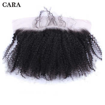 Afro Kinky Curly Silk Base Lace Frontal Closure 100% Human Hair 13x4 Brazilian Lace Frontal Free Part Bleached Knots Remy CARA - DISCOUNT ITEM  31% OFF All Category