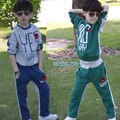 2015 reversible style spring autumn winter clothes for teens alphabet 2 piece boy sport suits set formal free shipping