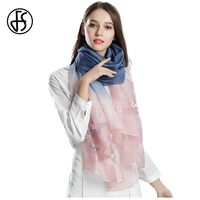 FS Floral Embroidery High Grade Scarf Chinese Silk Wool Scarves Brand For Ladies Design Woman Hijabs