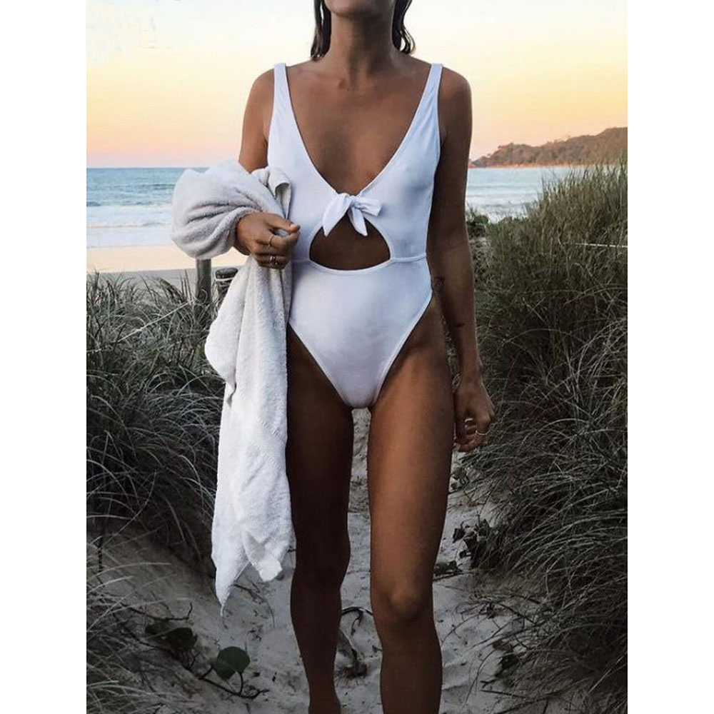 NIDALEE White High Cut Swimsuit Sexy Bowknot One Piece Swimwear Women High Leg Cut Out Front Swimsuit Plunge Monokini Bodysuit