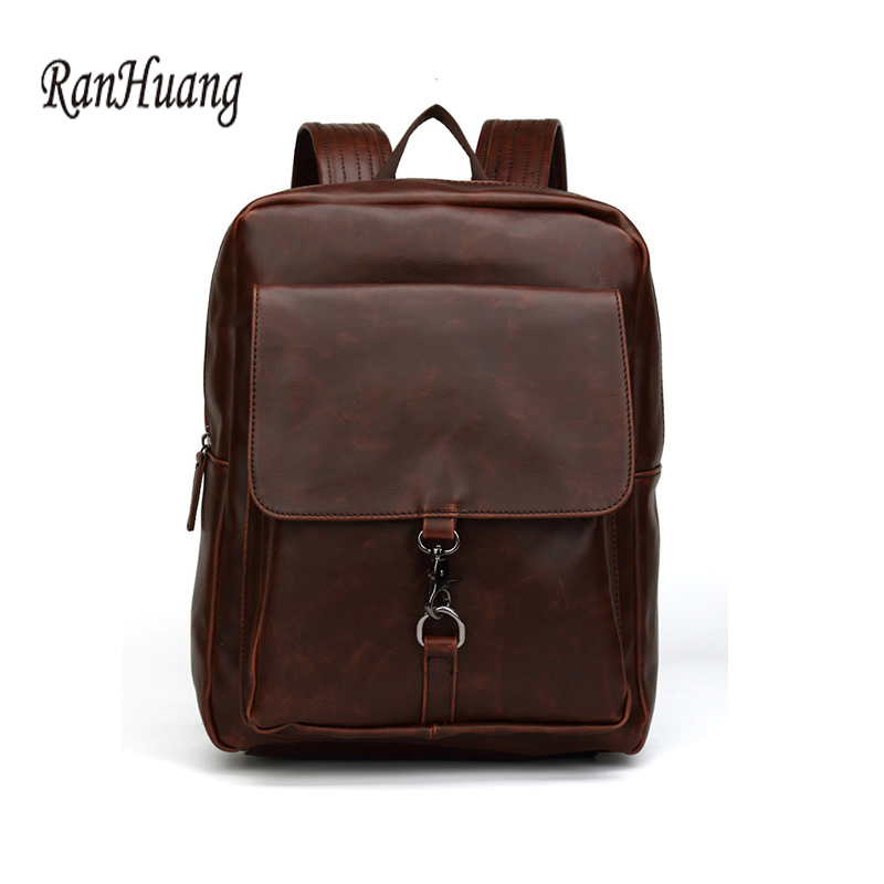 ФОТО RanHuang Men Fashion Backpack High Quality PU Leather Backpack For Traveling Vintage School Bags For Teenagers College bolso 252