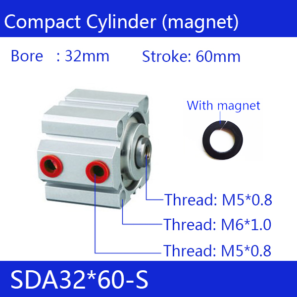цена на SDA32*60-S Free shipping 32mm Bore 60mm Stroke Compact Air Cylinders SDA32X60-S Dual Action Air Pneumatic Cylinder