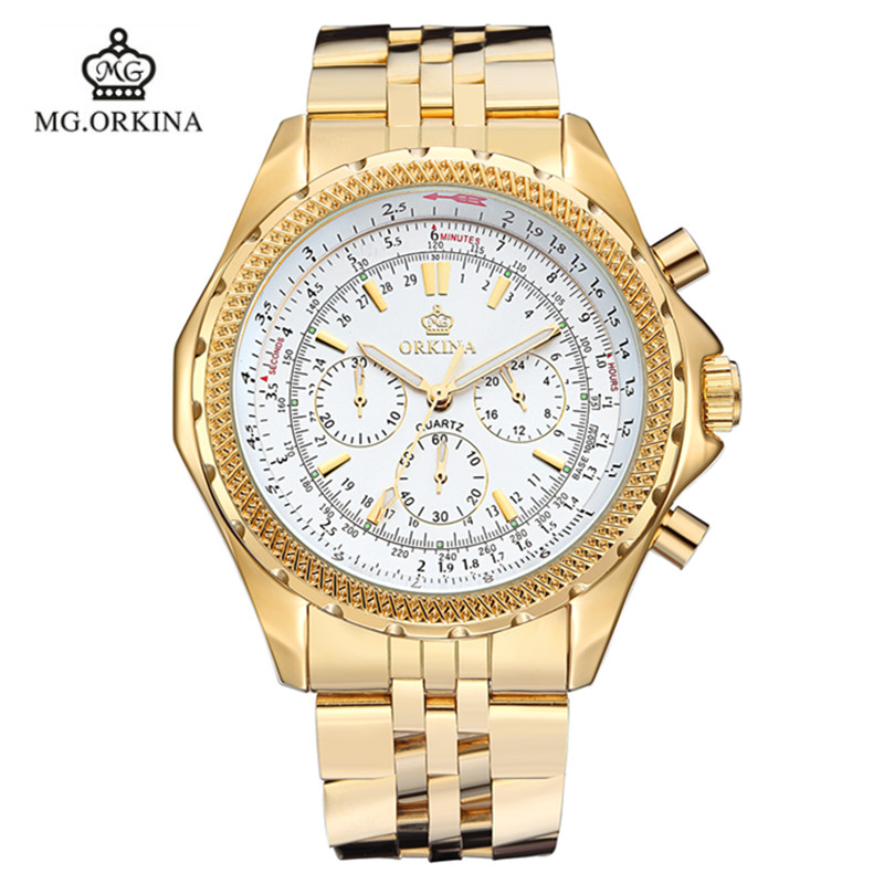 2016 New Reloj Watches Hardlex Man Watch Orkina Golden Waterproof Fashion Strap Men Brand Quartz 3