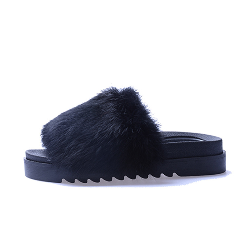 297a19a82 2017 New Summer Plush Women Fluffy Slippers Flat Non-slip Animal Fur  Feather Slides Home Flip Flop Rabbit Lady Casual Charm Shoe