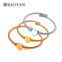 3 Pieces Set Rose Gold Silver Gold Plated Bangle Bracelet For Women Fashion Jewelry Heart Decoration