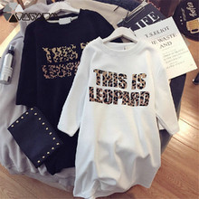 Leopard Print Dress Women Plus Size Dresses Short Sleeve Black White Casual Mini Fashion Loose Summer 2019