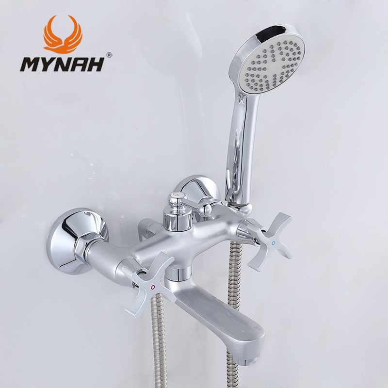 ФОТО MYNAH Russia free shipping Bathroom Shower Faucets Bathtub Faucet Mixer Tap With Hand Shower Sets shower faucet M3060H