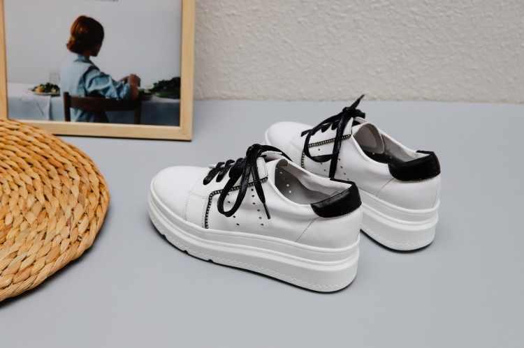 Flache schuhe frauen 2019 Neue Frühling Herbst Echtem Leder Turnschuhe Frau Weiß Schuhe Mode Lace-up Flache Plattform Schuhe für frauen