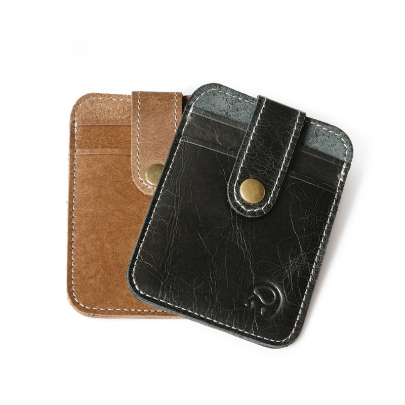 Card holders genuine leather card bags with key rings