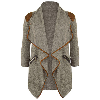 Women Plus Size Lapel Long Sleeve Zipper Cardigan Coat