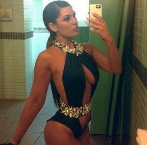 Pareo de alta calidad con diamantes de imitación y cristales, traje de baño de una pieza cortado, bikini para mujer, Monokini, traje de baño de corte alto