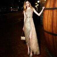 Без рукавов Длинные вечерние платье Для женщин Элегантный Бисер Блёстки золото Асимметричный Макси платья загара сетки лоскутное разрезам