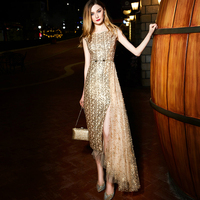 Sleeveless Long Party Dress Women Elegant Beading Sequins Gold Asymmetrical Maxi Dresses Bronzing Mesh Patchwork Slits Dress
