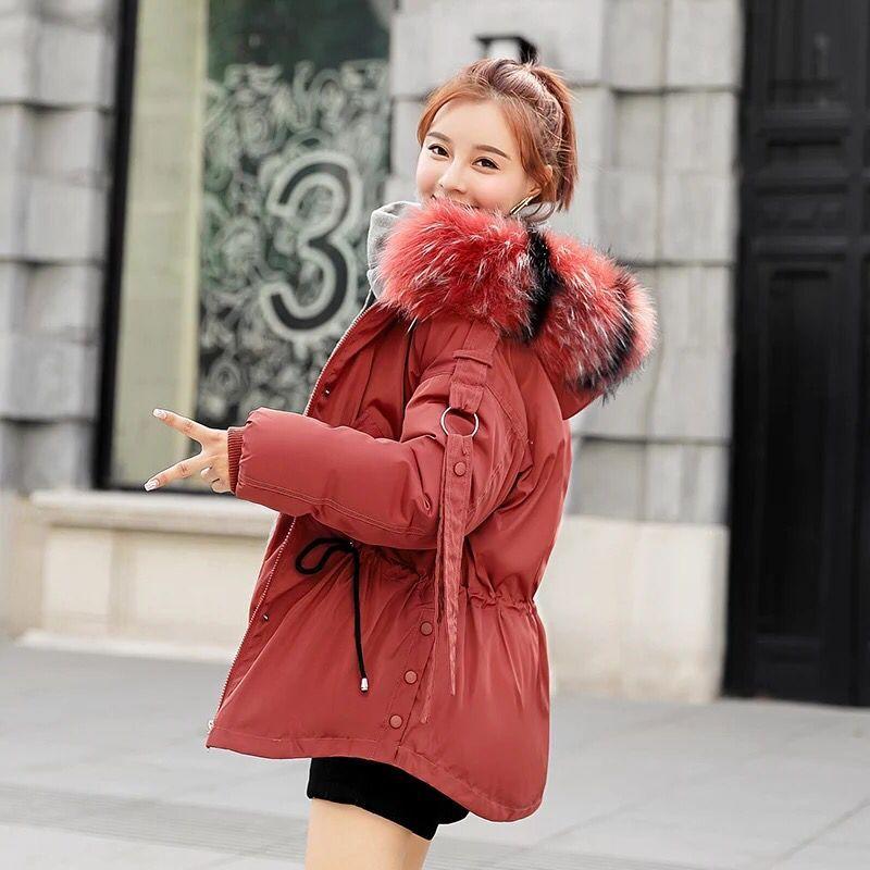 D'hiver Coréenne Femme 71 white Taille Survêtement Plus pink Femmes Manteau Court Vêtements Rembourré 2018 Des Grande Fourrure Tendance Black Veste De Matelassé Haut grey Capot red X48xHR