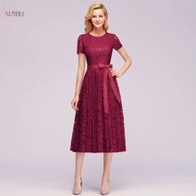 2019 Burgundy Lace Short Evening Dress Scoop Neck Sleeve Evening Gown robe de soiree